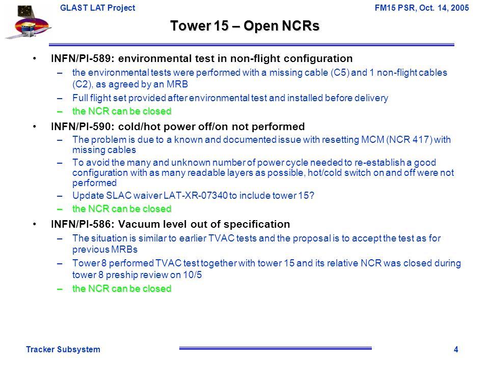 Tracker Subsystem5 GLAST LAT Project FM15 PSR, Oct.