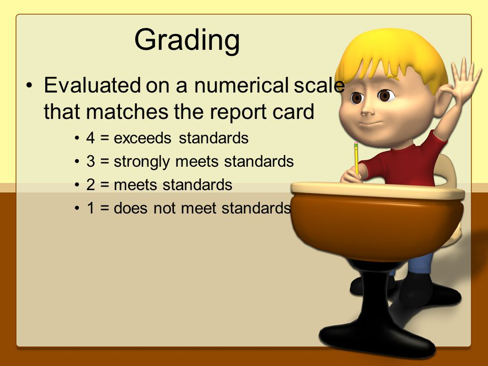 Grading Evaluated on a numerical scale that matches the report card 4 = exceeds standards 3 = strongly meets standards 2 = meets standards 1 = does not meet standards