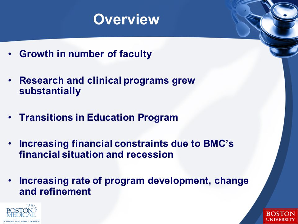 Overview Growth in number of faculty Research and clinical programs grew substantially Transitions in Education Program Increasing financial constraints due to BMC's financial situation and recession Increasing rate of program development, change and refinement