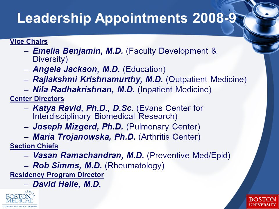 Leadership Appointments 2008-9 Vice Chairs –Emelia Benjamin, M.D.