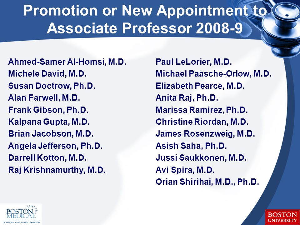 Promotion or New Appointment to Associate Professor 2008-9 Ahmed-Samer Al-Homsi, M.D.