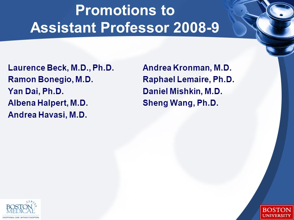 Promotions to Assistant Professor 2008-9 Laurence Beck, M.D., Ph.D.