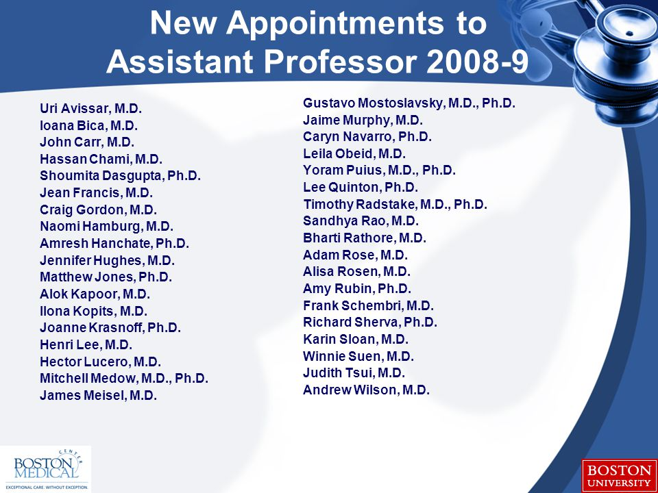 New Appointments to Assistant Professor 2008-9 Uri Avissar, M.D.