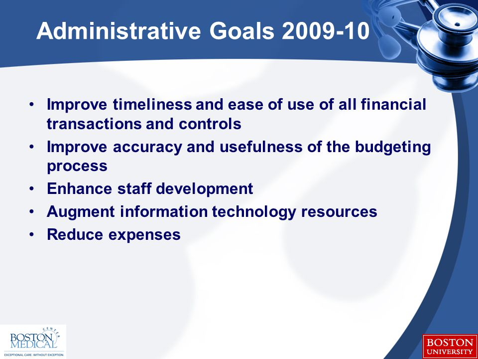 Administrative Goals 2009-10 Improve timeliness and ease of use of all financial transactions and controls Improve accuracy and usefulness of the budgeting process Enhance staff development Augment information technology resources Reduce expenses