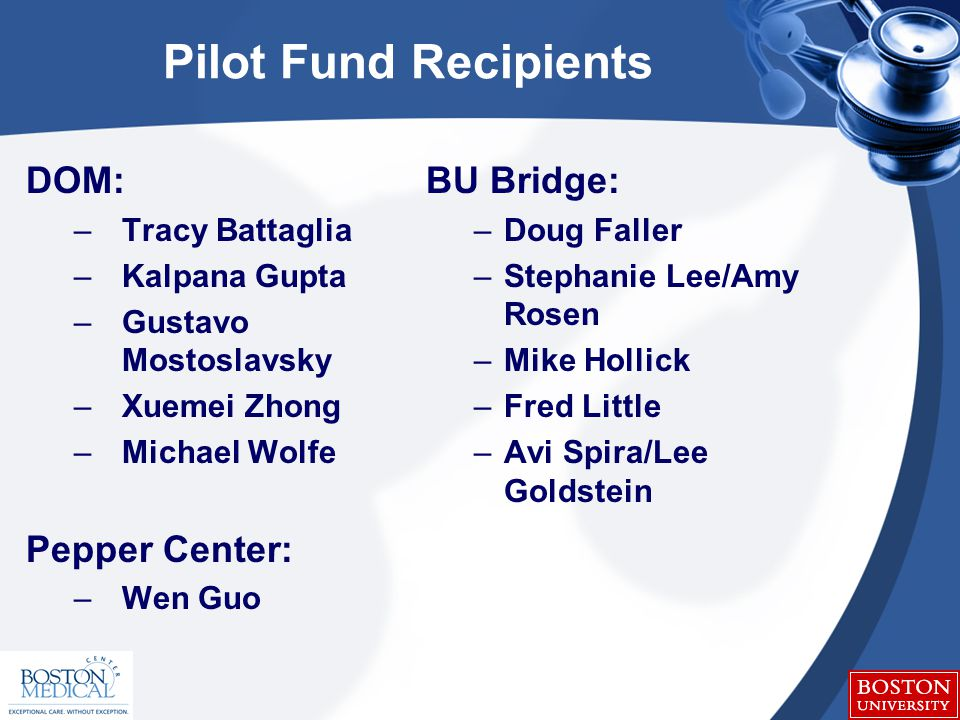 Pilot Fund Recipients DOM: –Tracy Battaglia –Kalpana Gupta –Gustavo Mostoslavsky –Xuemei Zhong –Michael Wolfe Pepper Center: –Wen Guo BU Bridge: –Doug Faller –Stephanie Lee/Amy Rosen –Mike Hollick –Fred Little –Avi Spira/Lee Goldstein