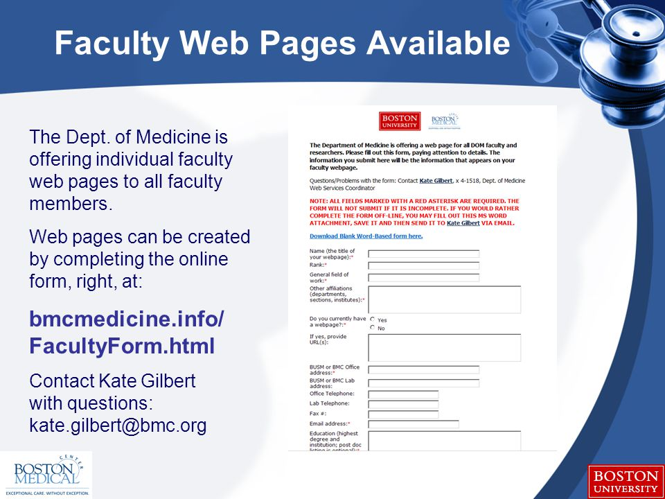 Faculty Web Pages Available The Dept.