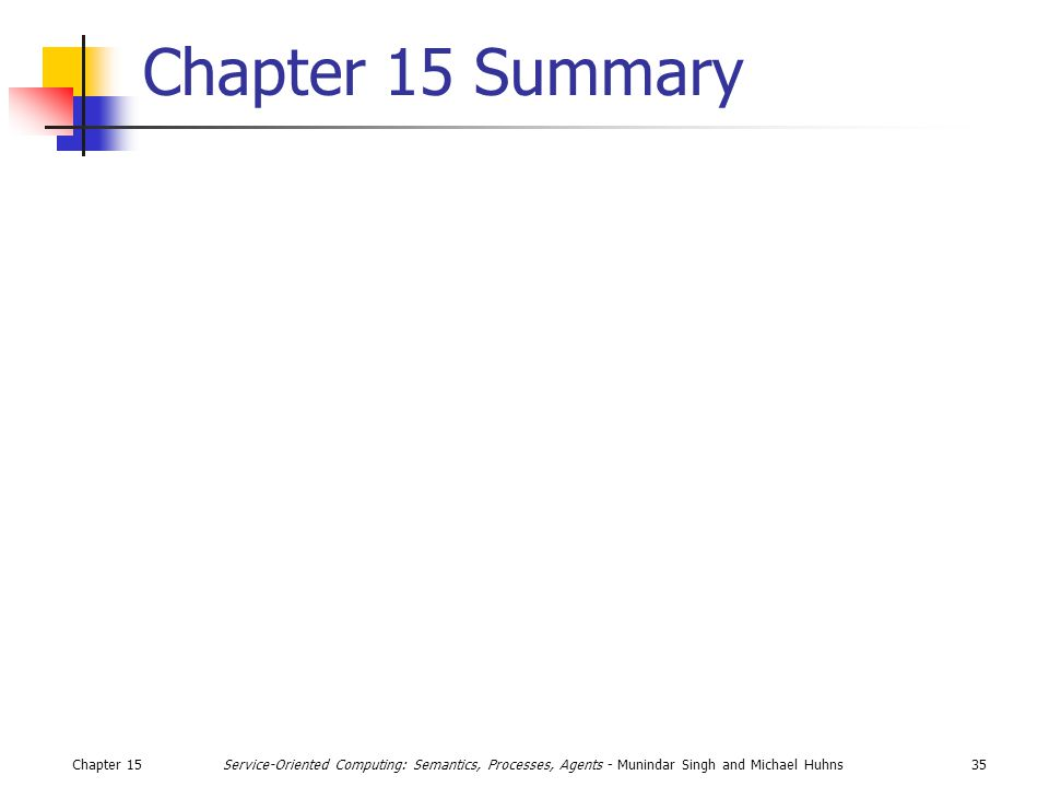 Chapter 1535Service-Oriented Computing: Semantics, Processes, Agents - Munindar Singh and Michael Huhns Chapter 15 Summary