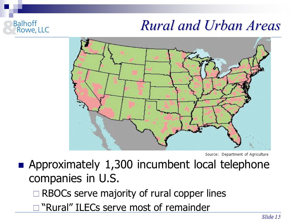 Slide 15 Rural and Urban Areas Approximately 1,300 incumbent local telephone companies in U.S.