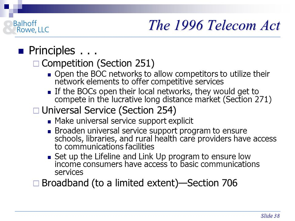 Slide 38 The 1996 Telecom Act Principles...