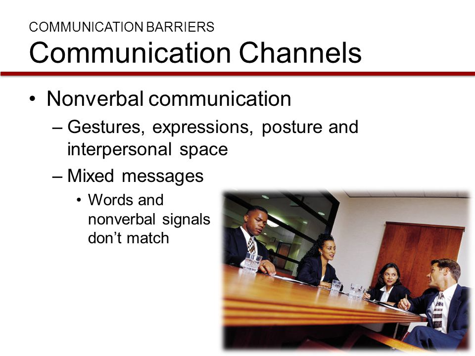 COMMUNICATION BARRIERS Communication Channels Nonverbal communication –Gestures, expressions, posture and interpersonal space –Mixed messages Words an