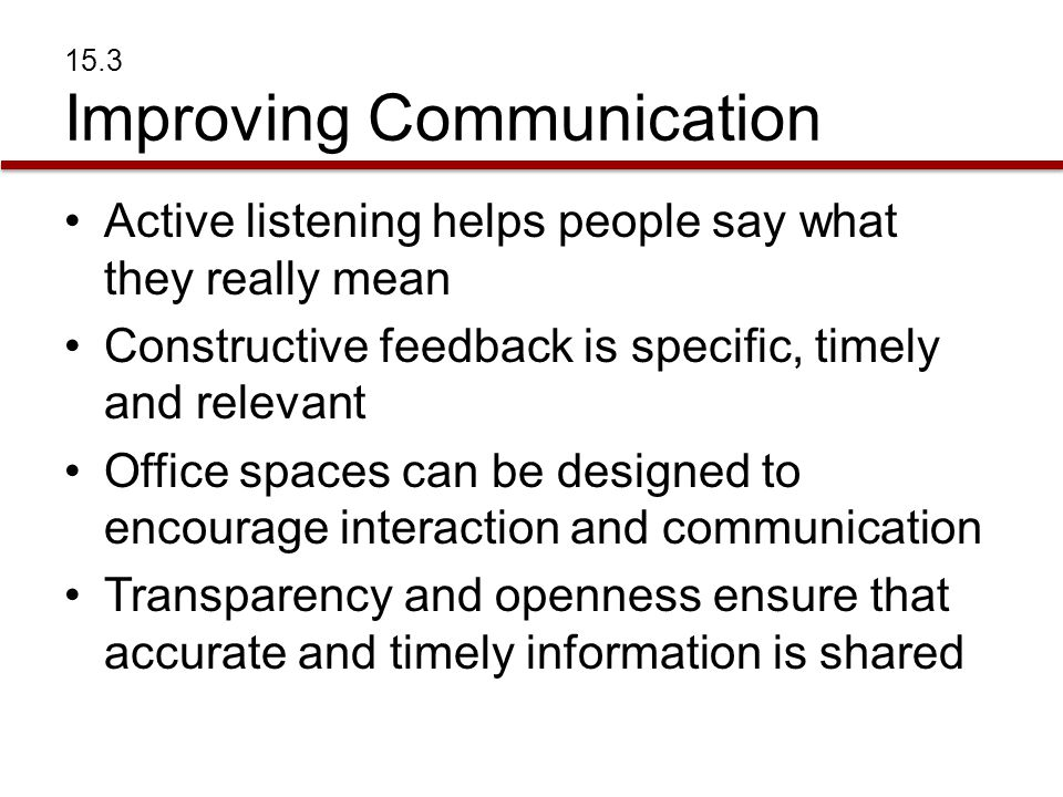 15.3 Improving Communication Active listening helps people say what they really mean Constructive feedback is specific, timely and relevant Office spa