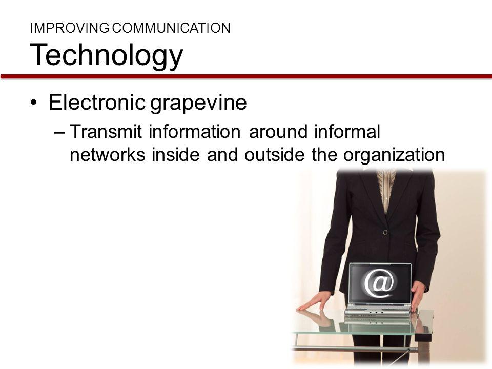 IMPROVING COMMUNICATION Technology Electronic grapevine –Transmit information around informal networks inside and outside the organization