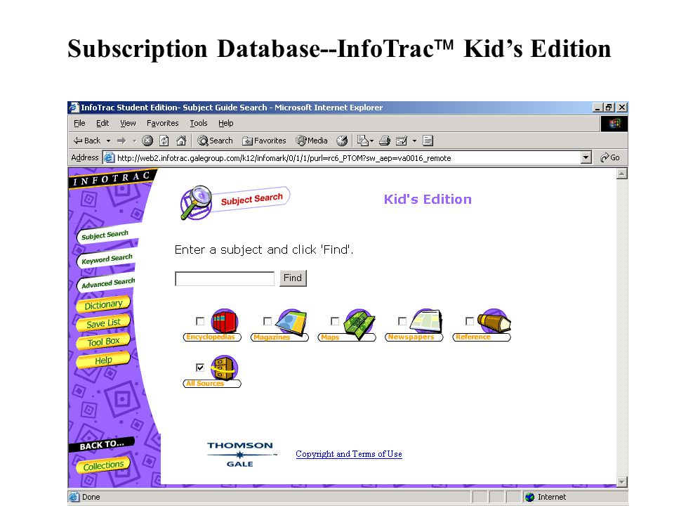 Subscription Database--InfoTrac  Kid's Edition