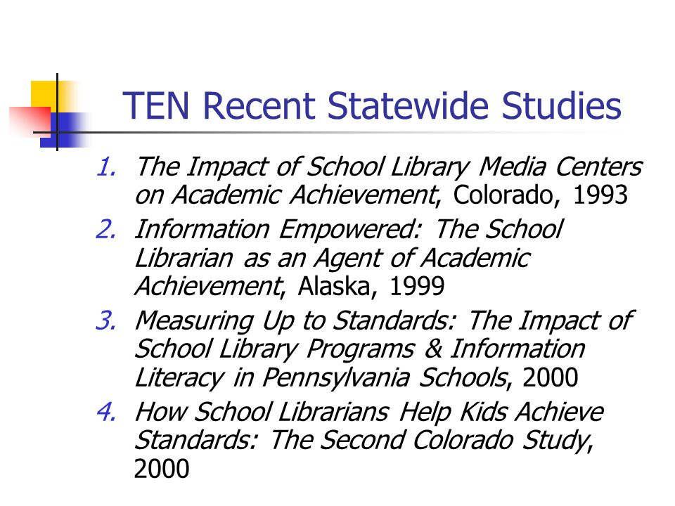 TEN Recent Statewide Studies 1.The Impact of School Library Media Centers on Academic Achievement, Colorado, 1993 2.Information Empowered: The School Librarian as an Agent of Academic Achievement, Alaska, 1999 3.Measuring Up to Standards: The Impact of School Library Programs & Information Literacy in Pennsylvania Schools, 2000 4.How School Librarians Help Kids Achieve Standards: The Second Colorado Study, 2000