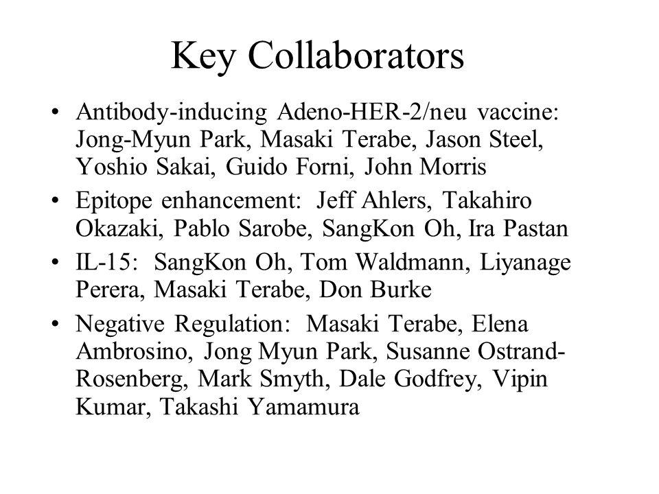Key Collaborators Antibody-inducing Adeno-HER-2/neu vaccine: Jong-Myun Park, Masaki Terabe, Jason Steel, Yoshio Sakai, Guido Forni, John Morris Epitop