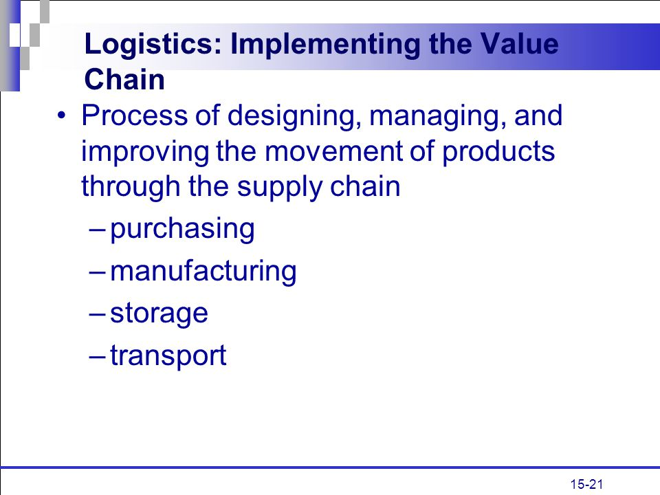 15-21 Logistics: Implementing the Value Chain Process of designing, managing, and improving the movement of products through the supply chain –purchas