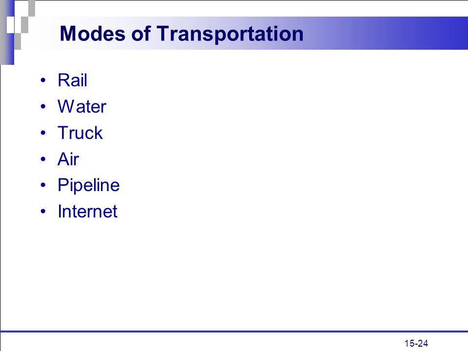 15-24 Modes of Transportation Rail Water Truck Air Pipeline Internet