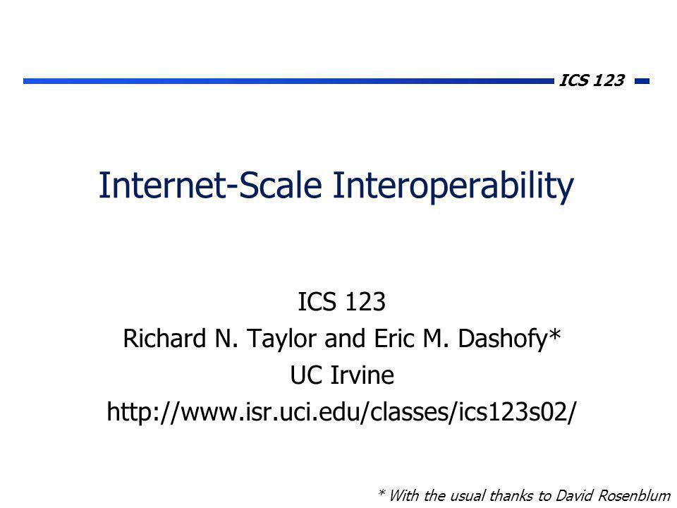 ICS 123 Internet-Scale Interoperability ICS 123 Richard N.
