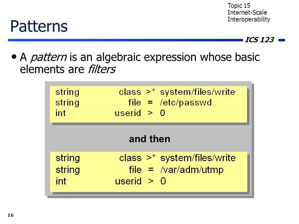 ICS 123 16 Topic 15 Internet-Scale Interoperability Patterns A pattern is an algebraic expression whose basic elements are filters and then