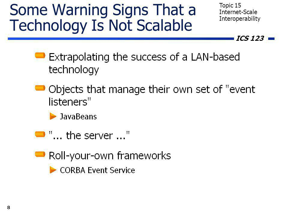 ICS 123 8 Topic 15 Internet-Scale Interoperability Some Warning Signs That a Technology Is Not Scalable