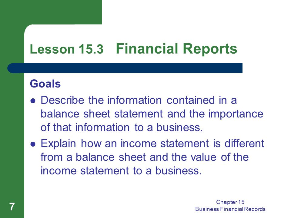 Chapter 15 Business Financial Records 7 Lesson 15.3 Financial Reports Goals Describe the information contained in a balance sheet statement and the importance of that information to a business.