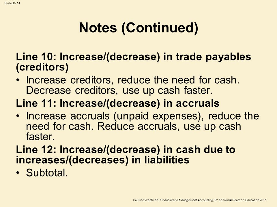 Slide 15.14 Pauline Weetman, Financial and Management Accounting, 5 th edition © Pearson Education 2011 Notes (Continued) Line 10: Increase/(decrease)
