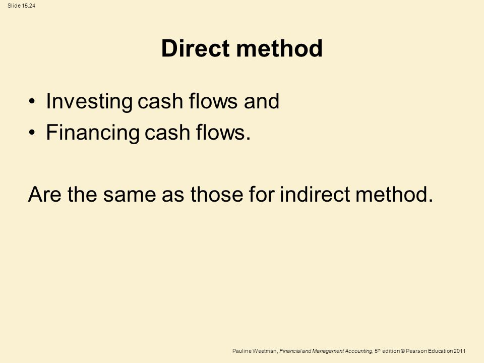Slide 15.24 Pauline Weetman, Financial and Management Accounting, 5 th edition © Pearson Education 2011 Direct method Investing cash flows and Financi