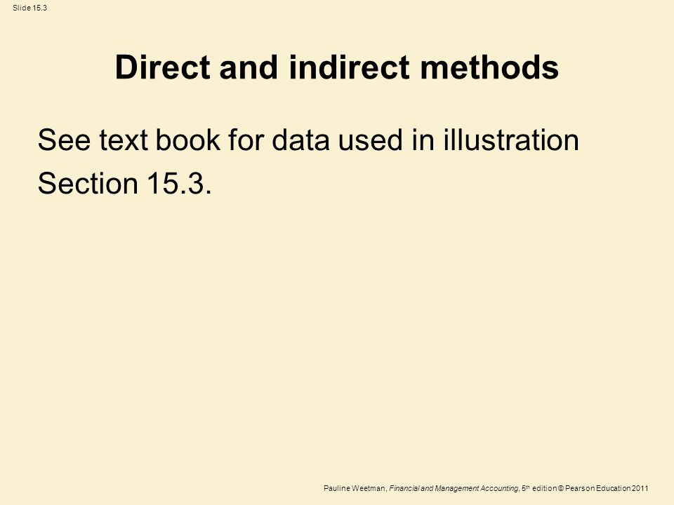 Slide 15.3 Pauline Weetman, Financial and Management Accounting, 5 th edition © Pearson Education 2011 See text book for data used in illustration Sec