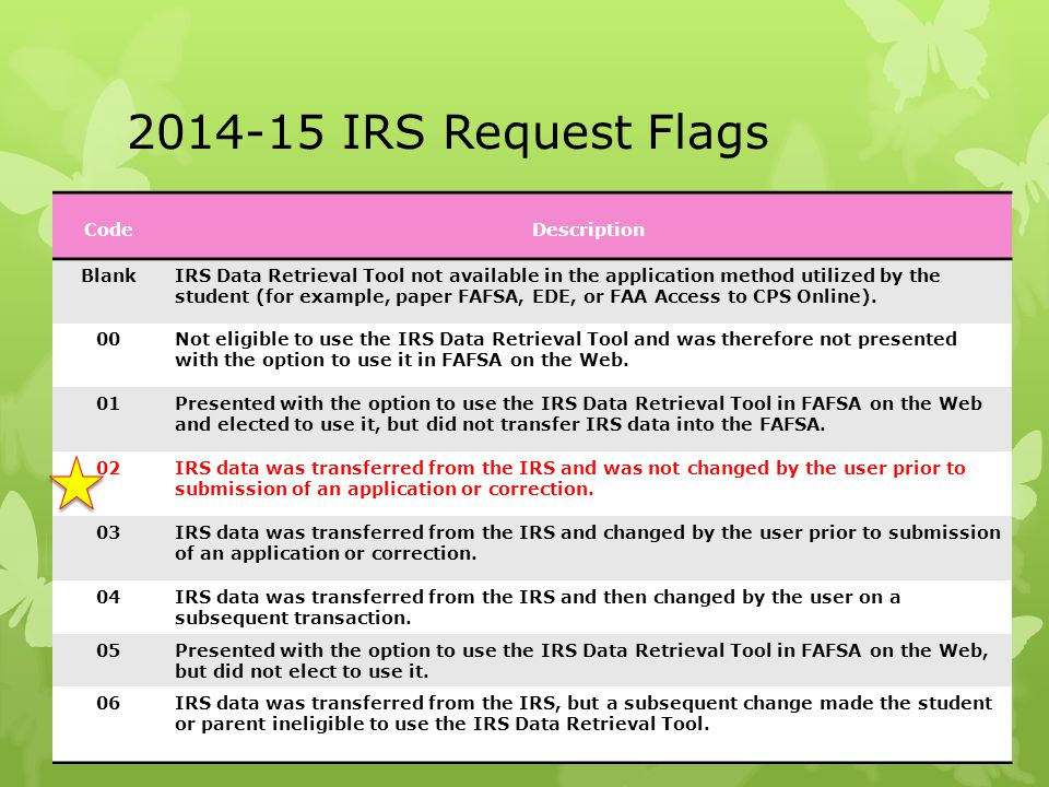 2014-15 IRS Request Flags CodeDescription BlankIRS Data Retrieval Tool not available in the application method utilized by the student (for example, p