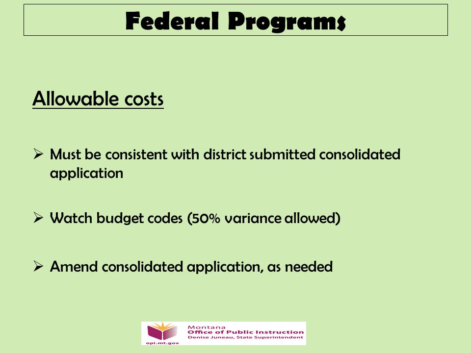 Allowable costs  Must be consistent with district submitted consolidated application  Watch budget codes (50% variance allowed)  Amend consolidated application, as needed Federal Programs