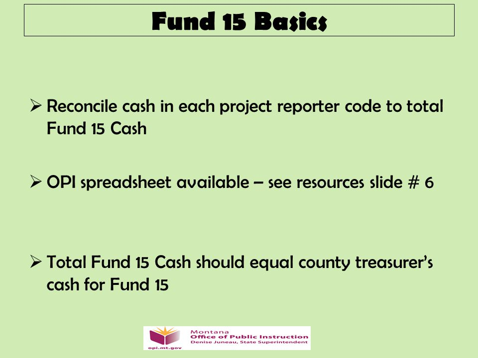  Reconcile cash in each project reporter code to total Fund 15 Cash  OPI spreadsheet available – see resources slide # 6  Total Fund 15 Cash should equal county treasurer's cash for Fund 15 Fund 15 Basics