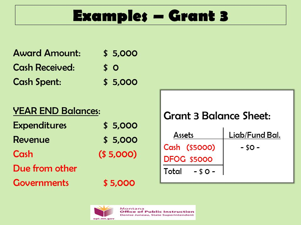 Award Amount: $ 5,000 Cash Received: $ 0 Cash Spent: $ 5,000 YEAR END Balances: Expenditures $ 5,000 Revenue$ 5,000 Cash ($ 5,000) Due from other Governments $ 5,000 Examples – Grant 3