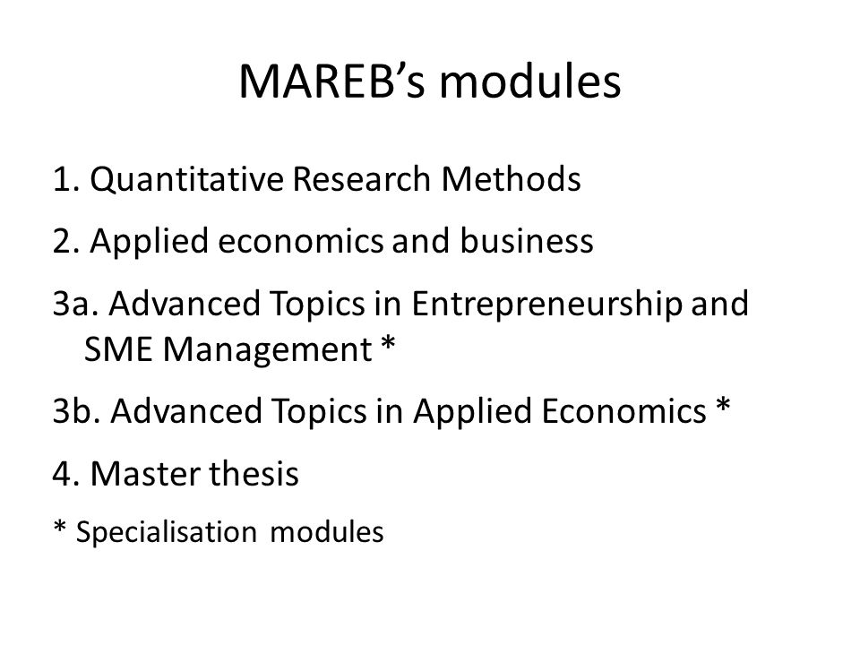 MAREB's modules 1. Quantitative Research Methods 2. Applied economics and business 3a. Advanced Topics in Entrepreneurship and SME Management * 3b. Ad