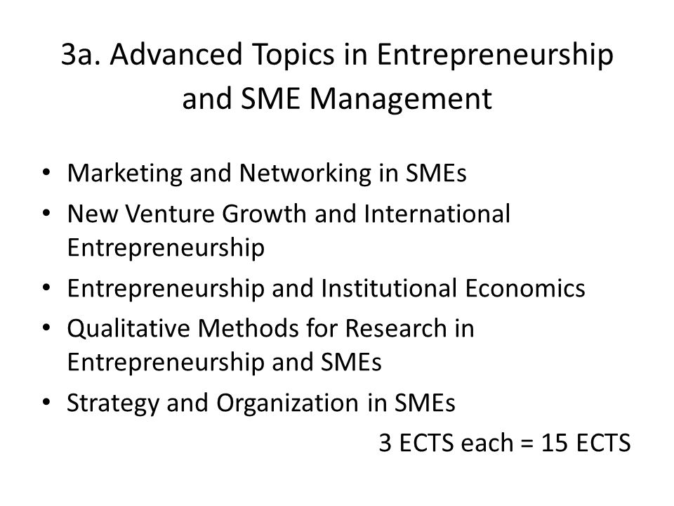 3a. Advanced Topics in Entrepreneurship and SME Management Marketing and Networking in SMEs New Venture Growth and International Entrepreneurship Entr