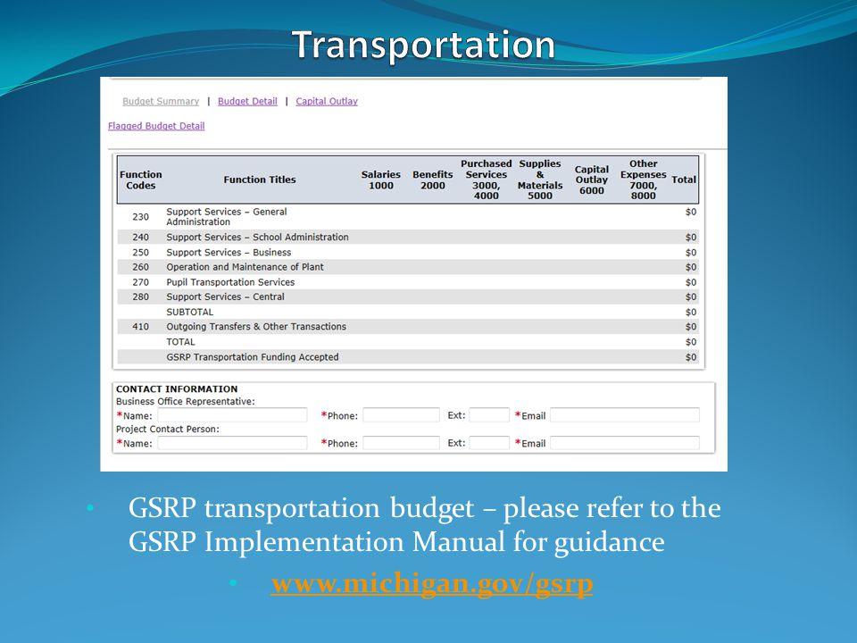 GSRP transportation budget – please refer to the GSRP Implementation Manual for guidance www.michigan.gov/gsrp
