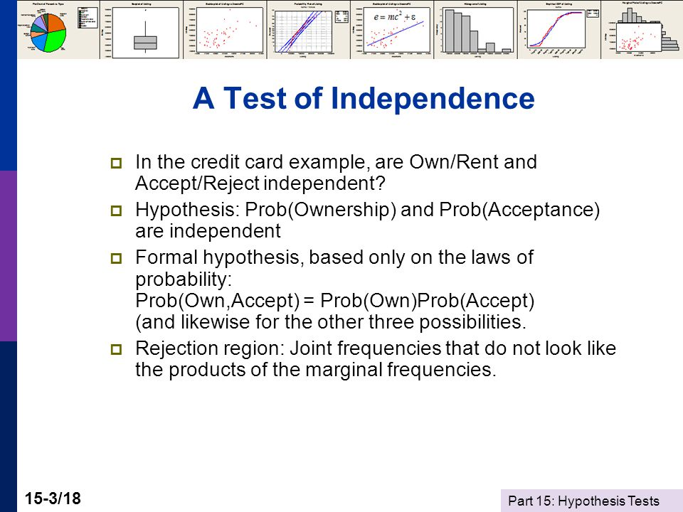 Part 15: Hypothesis Tests 15-3/18 A Test of Independence  In the credit card example, are Own/Rent and Accept/Reject independent.