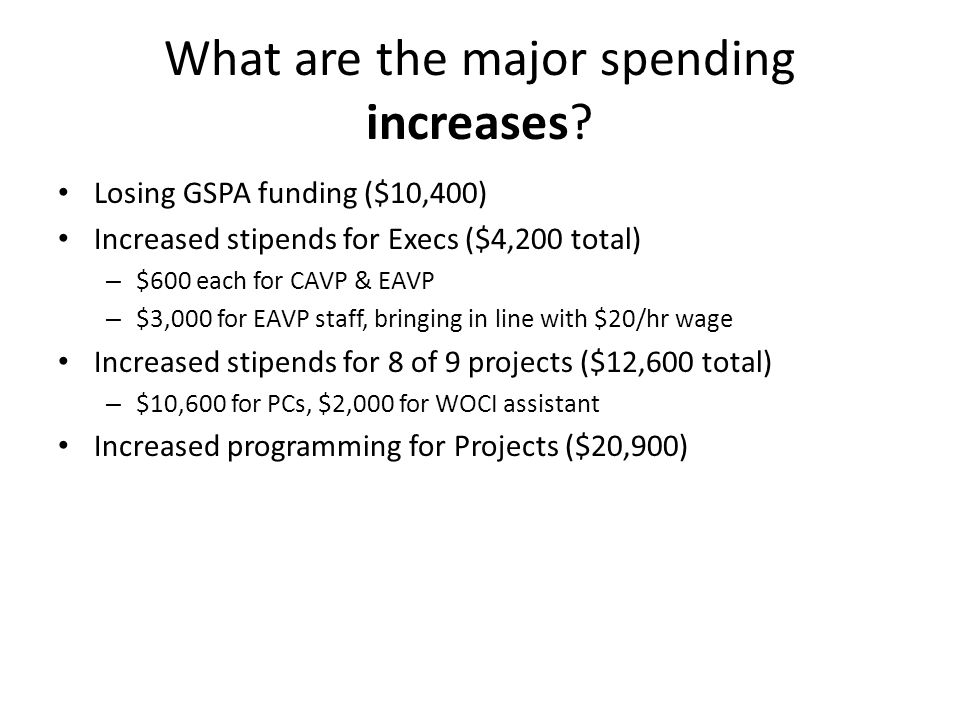 What are the major spending increases.