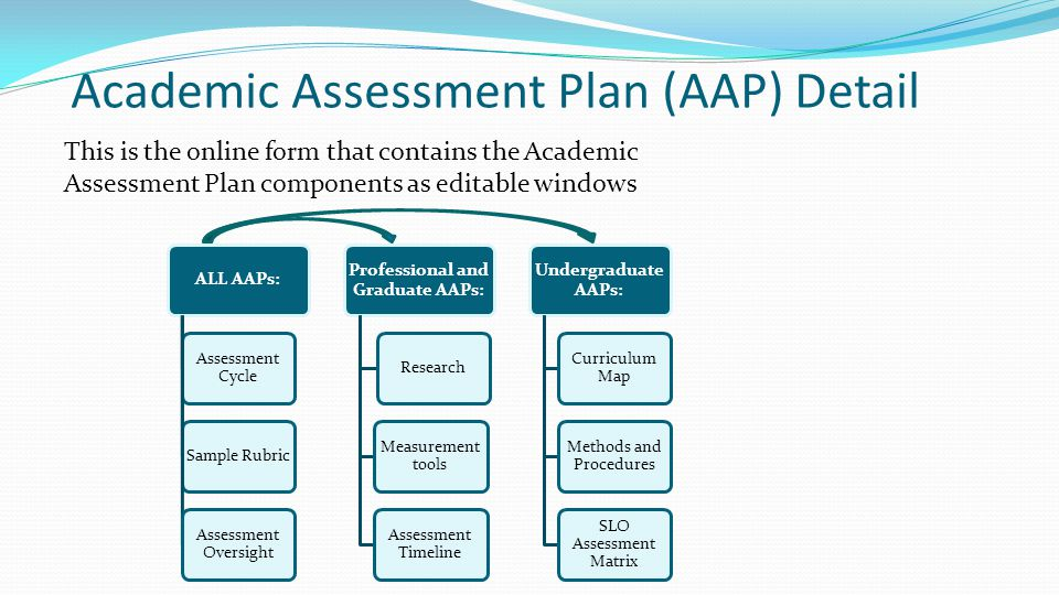 Academic Assessment Plan (AAP) Detail This is the online form that contains the Academic Assessment Plan components as editable windows ALL AAPs: Assessment Cycle Sample Rubric Assessment Oversight Professional and Graduate AAPs: Research Measurement tools Assessment Timeline Undergraduate AAPs: Curriculum Map Methods and Procedures SLO Assessment Matrix