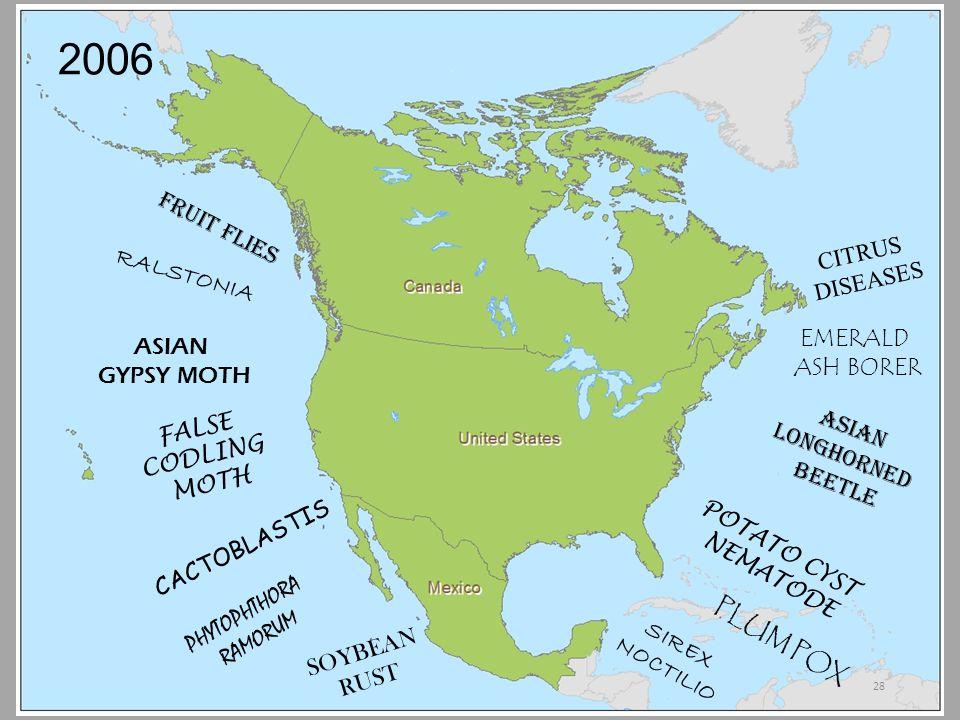 2006 FRUIT FLIES ASIAN GYPSY MOTH FALSE CODLING MOTH CACTOBLASTIS SOYBEAN RUST SIREX NOCTILIO PLUM POX POTATO CYST NEMATODE ASIAN LONGHORNED BEETLE CITRUS DISEASES EMERALD ASH BORER PHYTOPHTHORA RAMORUM RALSTONIA 28