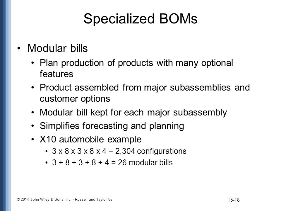 Specialized BOMs Modular bills Plan production of products with many optional features Product assembled from major subassemblies and customer options