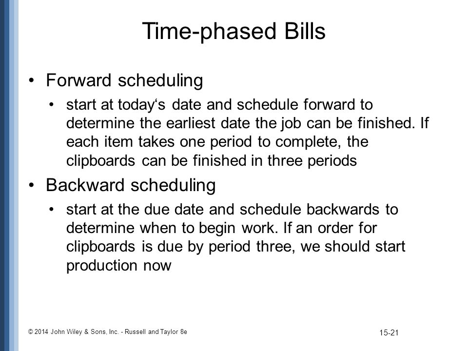 Time-phased Bills Forward scheduling start at today's date and schedule forward to determine the earliest date the job can be finished. If each item t