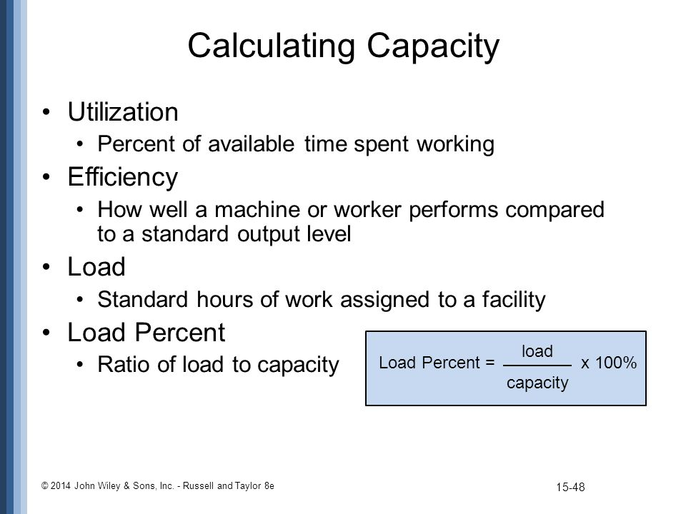 Calculating Capacity Utilization Percent of available time spent working Efficiency How well a machine or worker performs compared to a standard outpu