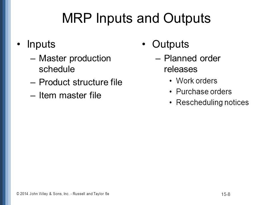 MRP Inputs and Outputs Inputs –Master production schedule –Product structure file –Item master file Outputs –Planned order releases Work orders Purcha