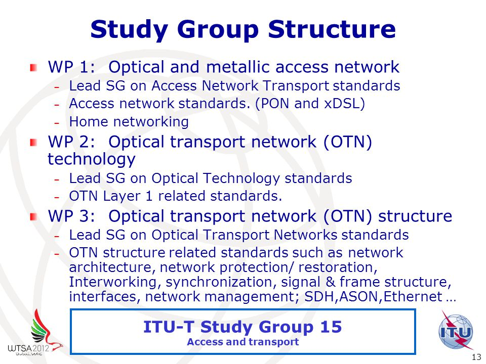 International Telecommunication Union 13 ITU-T Study Group 15 Access and transport Study Group Structure WP 1: Optical and metallic access network – Lead SG on Access Network Transport standards – Access network standards.