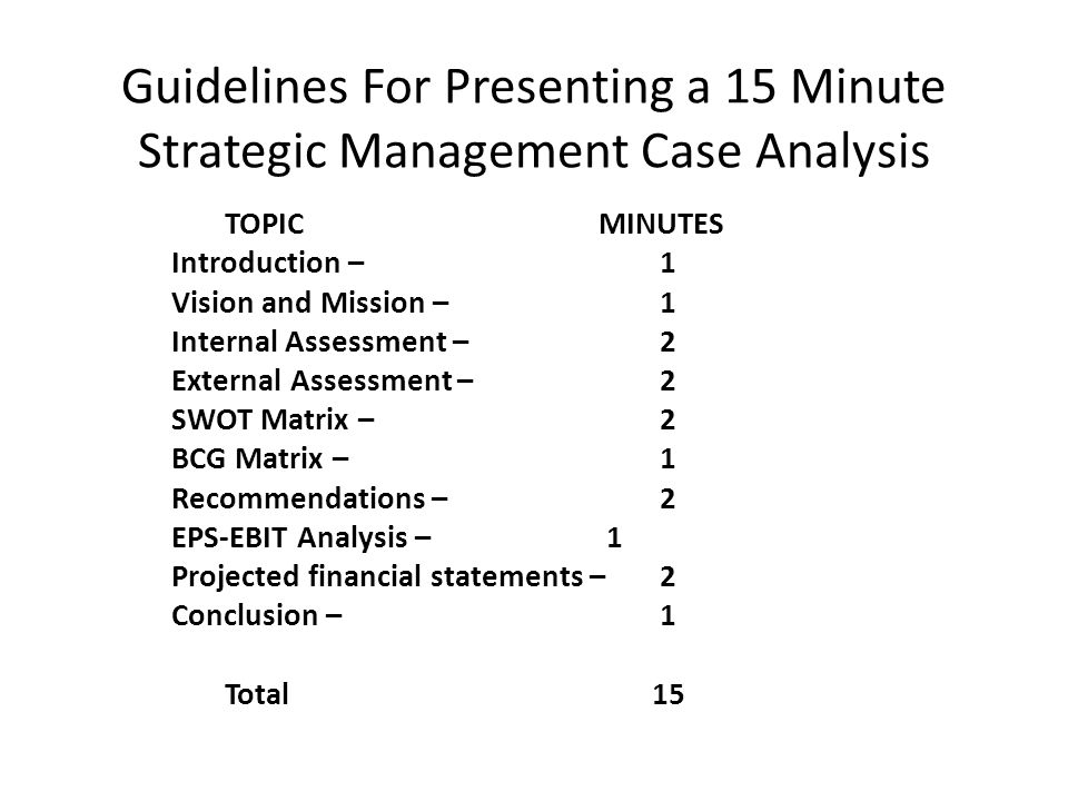 Guidelines For Presenting a 15 Minute Strategic Management Case Analysis TOPIC MINUTES Introduction – 1 Vision and Mission – 1 Internal Assessment – 2