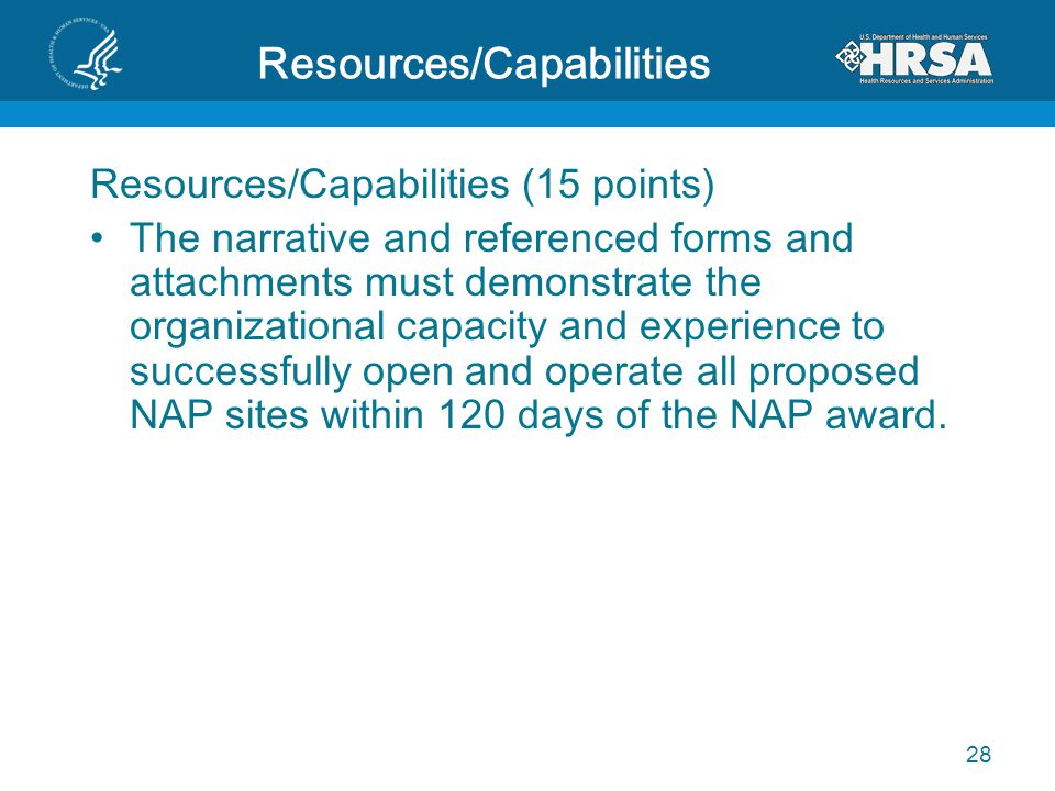 Resources/Capabilities Resources/Capabilities (15 points) The narrative and referenced forms and attachments must demonstrate the organizational capac