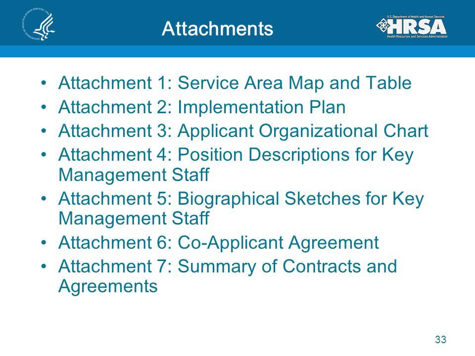 Attachments Attachment 1: Service Area Map and Table Attachment 2: Implementation Plan Attachment 3: Applicant Organizational Chart Attachment 4: Posi