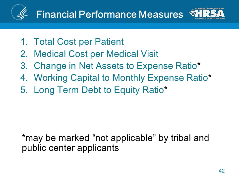 Financial Performance Measures 1.Total Cost per Patient 2.Medical Cost per Medical Visit 3.Change in Net Assets to Expense Ratio* 4.Working Capital to