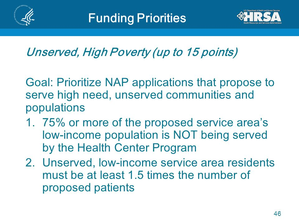 Funding Priorities Unserved, High Poverty (up to 15 points) Goal: Prioritize NAP applications that propose to serve high need, unserved communities an
