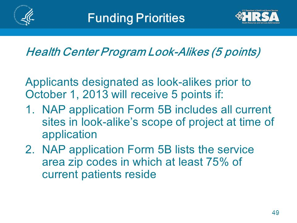 Funding Priorities Health Center Program Look-Alikes (5 points) Applicants designated as look-alikes prior to October 1, 2013 will receive 5 points if